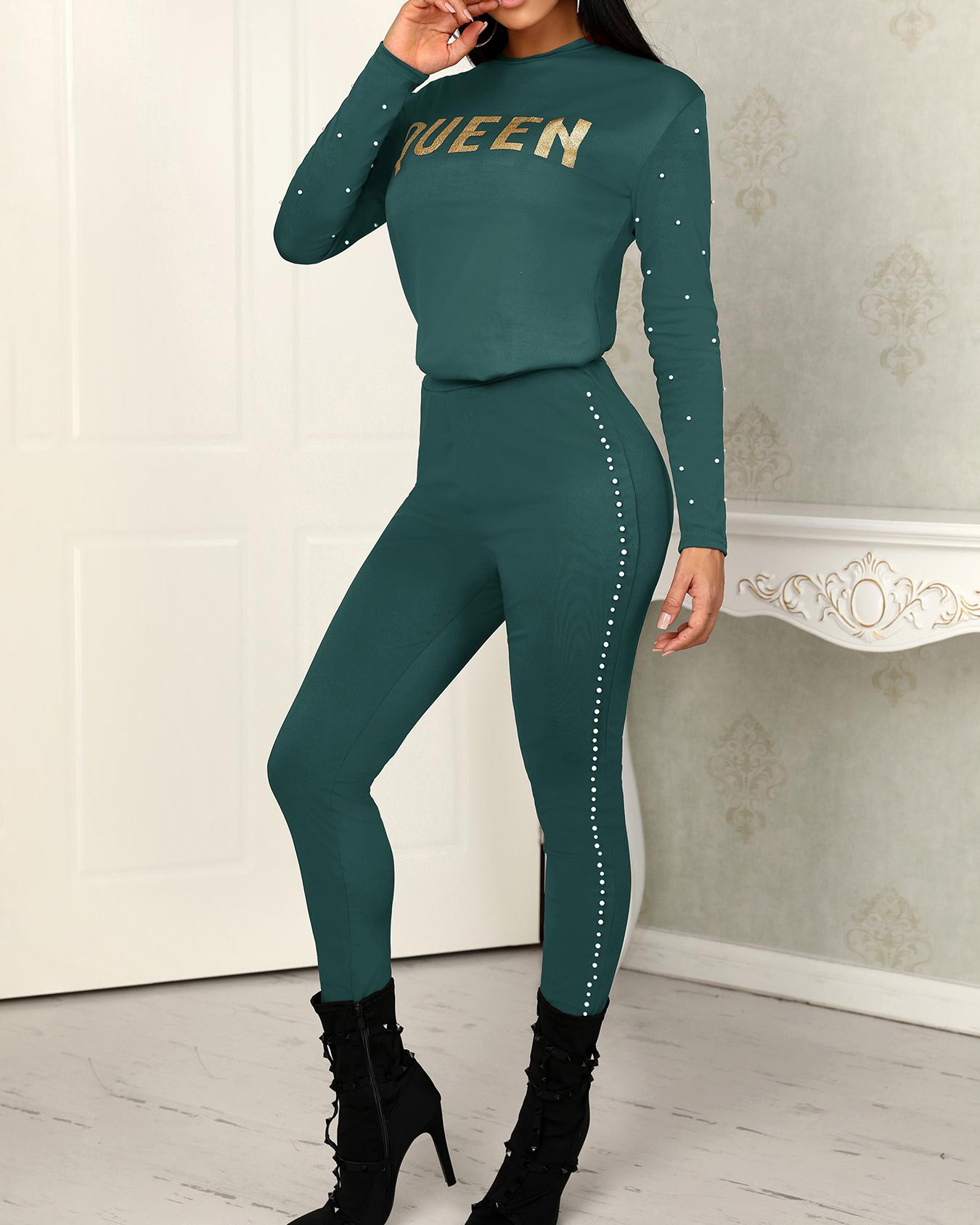 Skinny Beading Side Letter Print Pantsuits фото