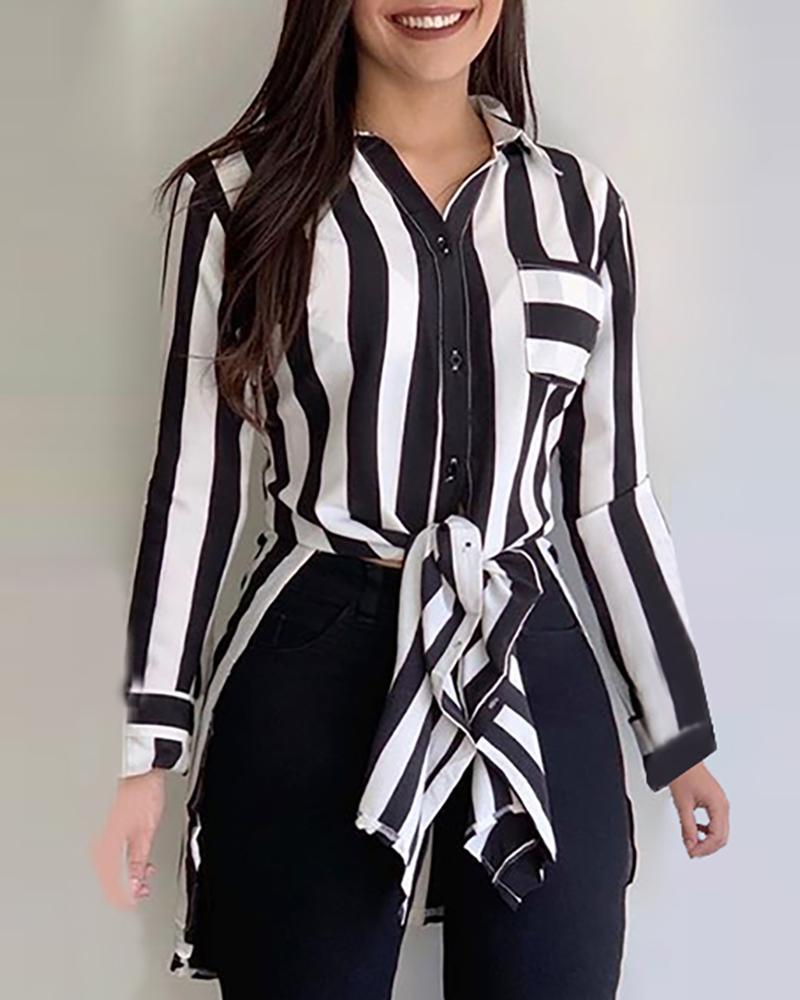 ivrose / Striped Button Knotted Design Shirt