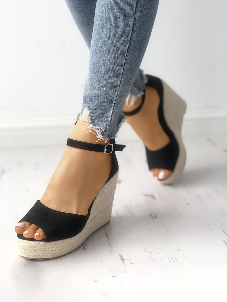 ivrose / Ankle Strap Espadrille Wedge Sandals