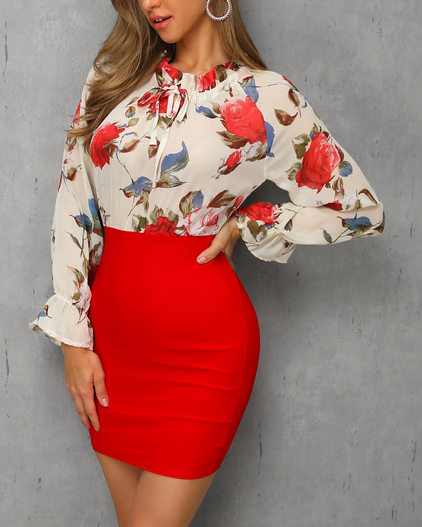 Floral Print Insert Ruffles Cuff Bodycon Dress