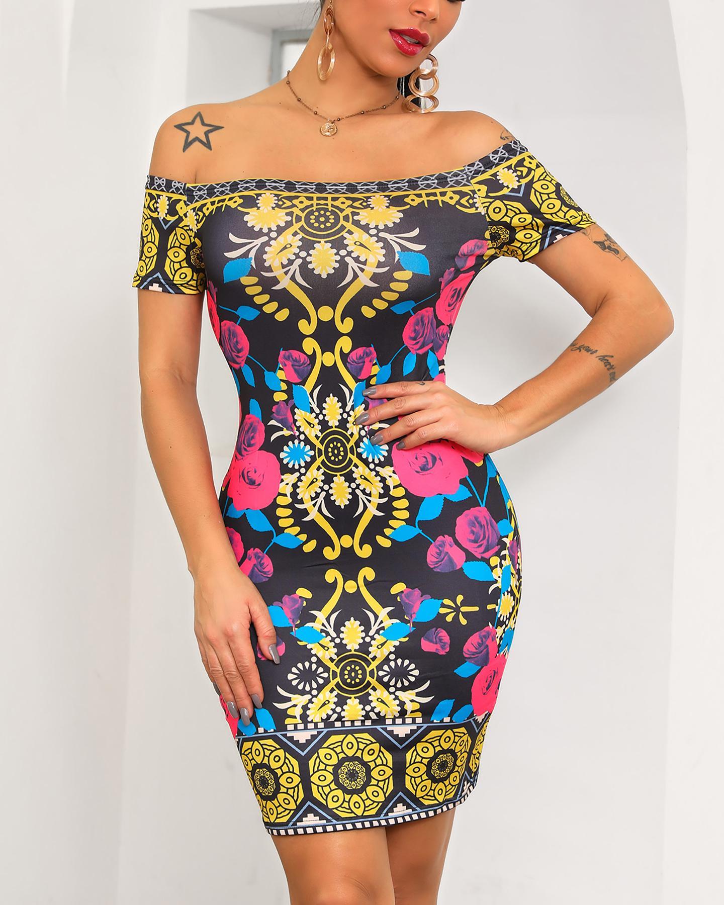 Sexy Vintage Print Off Shoulder Bodycon Dress