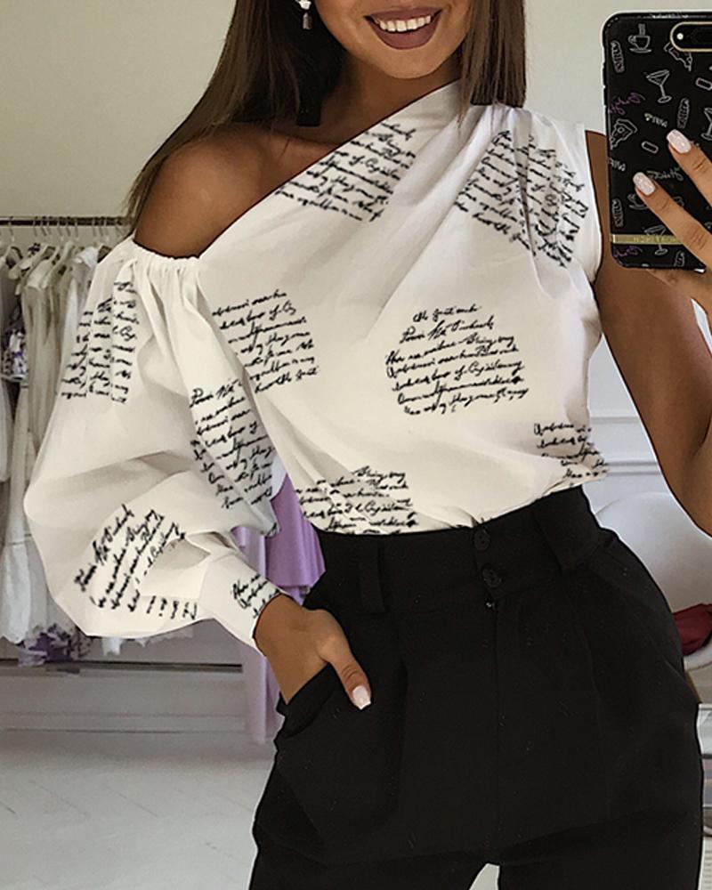 boutiquefeel / Blusa con estampado de letras en un hombro