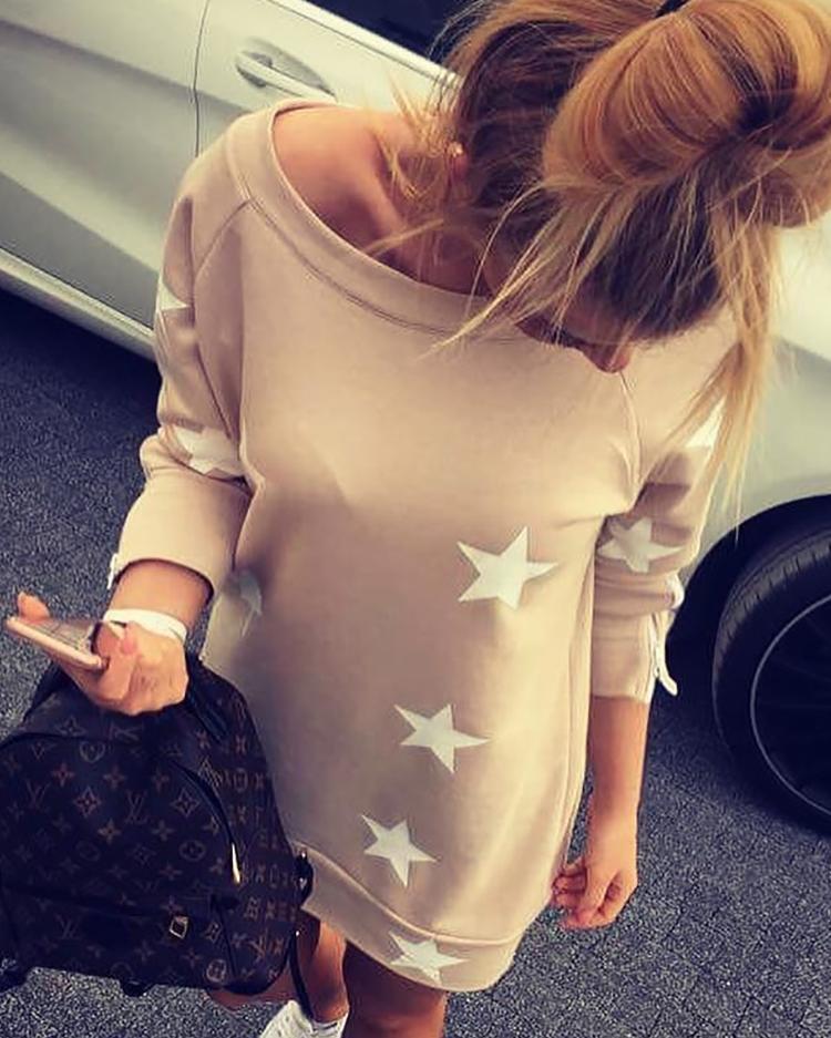 boutiquefeel / Vestido informal con cuello barco y estampado de estrellas casual