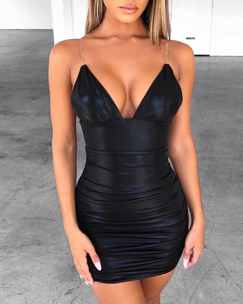 ivrose / Transparent Spaghetti Strap Bodycon Dress