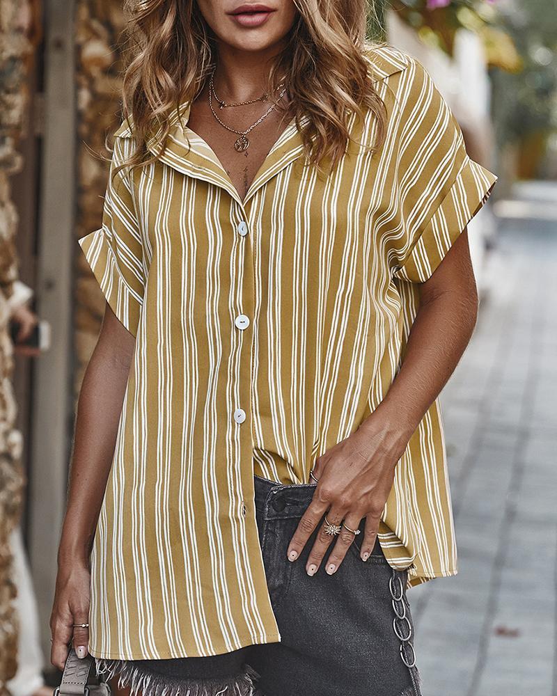 Striped Short Sleeve Casual Shirt фото