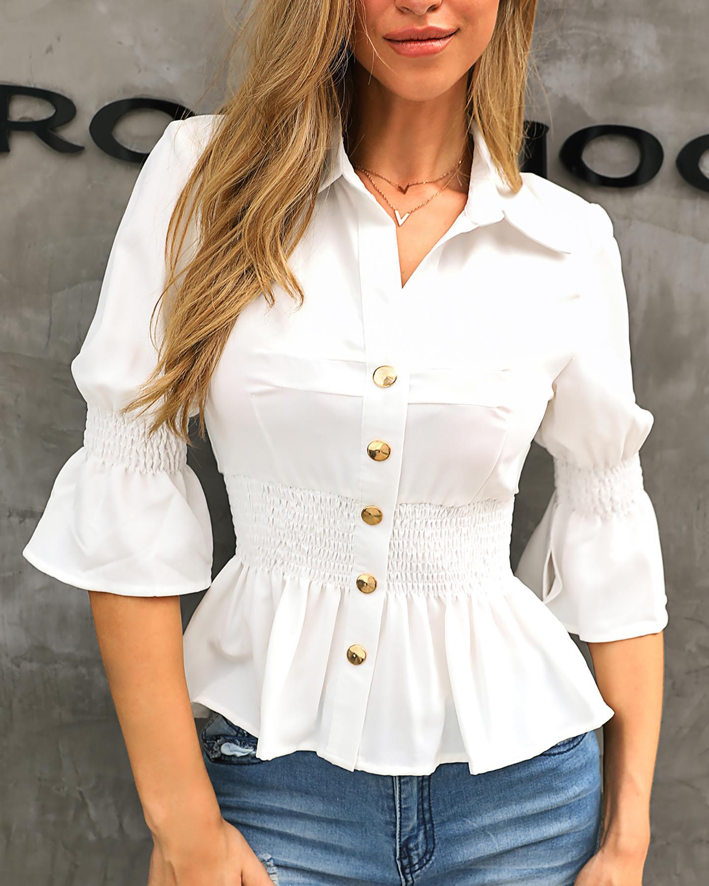 Buttoned Shirring Ruffles Casual Blouse фото