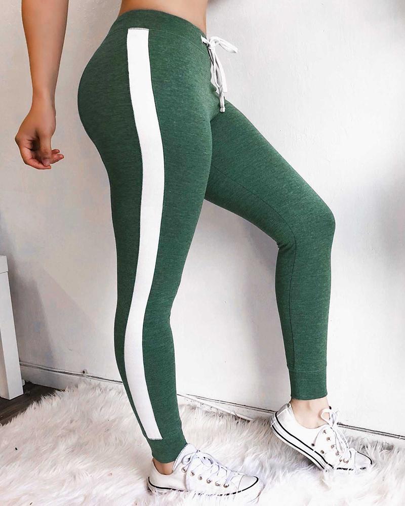 Colorblock Side Stripes Sporty Pants фото