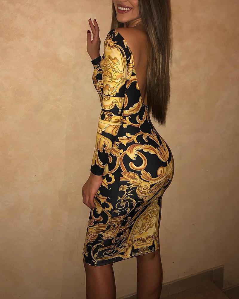 Baroque Print Vintage Backless Midi Dress фото