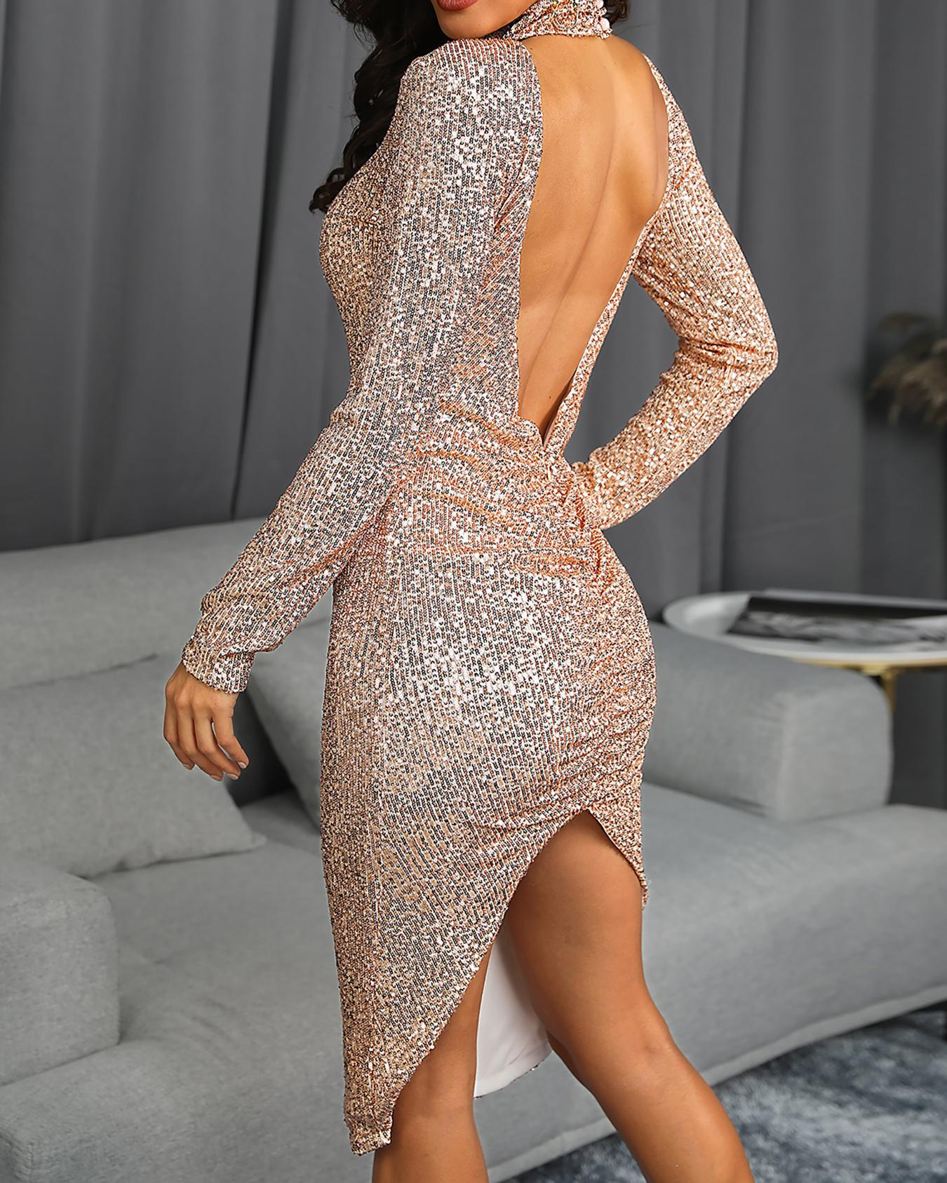 Glitter Open Back Slit Party Dress
