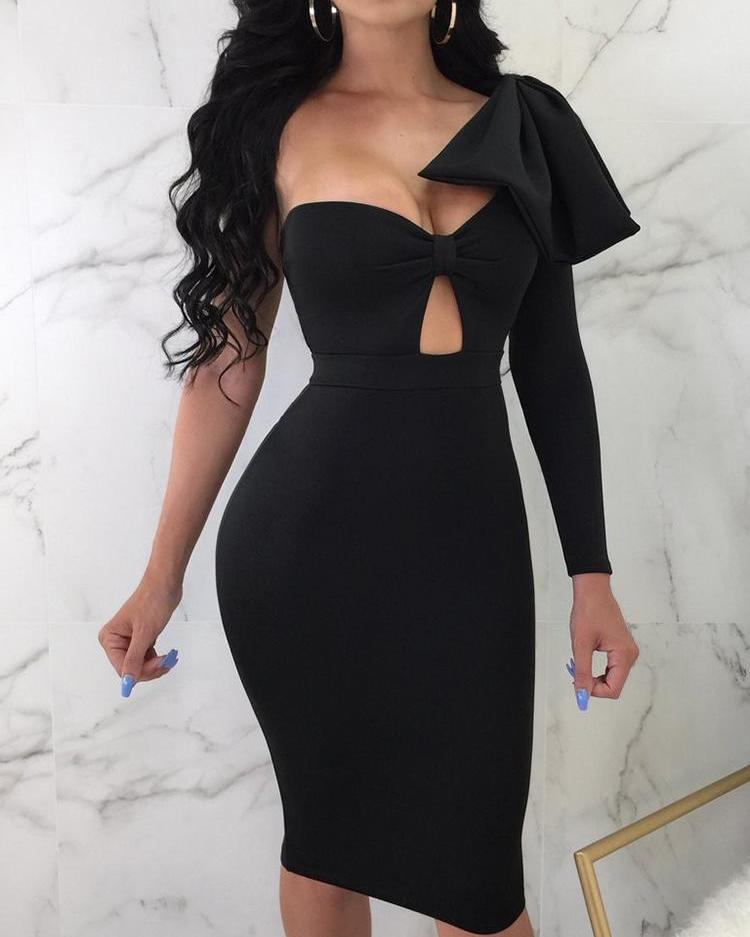 Exaggerate Bowknot Shoulder Cutout Bodycon Dress