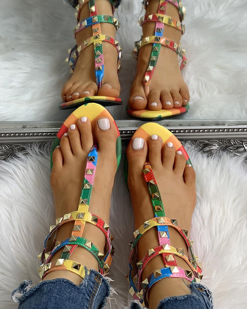 Rivets Multi Strap Toe Post Flat Sandals фото