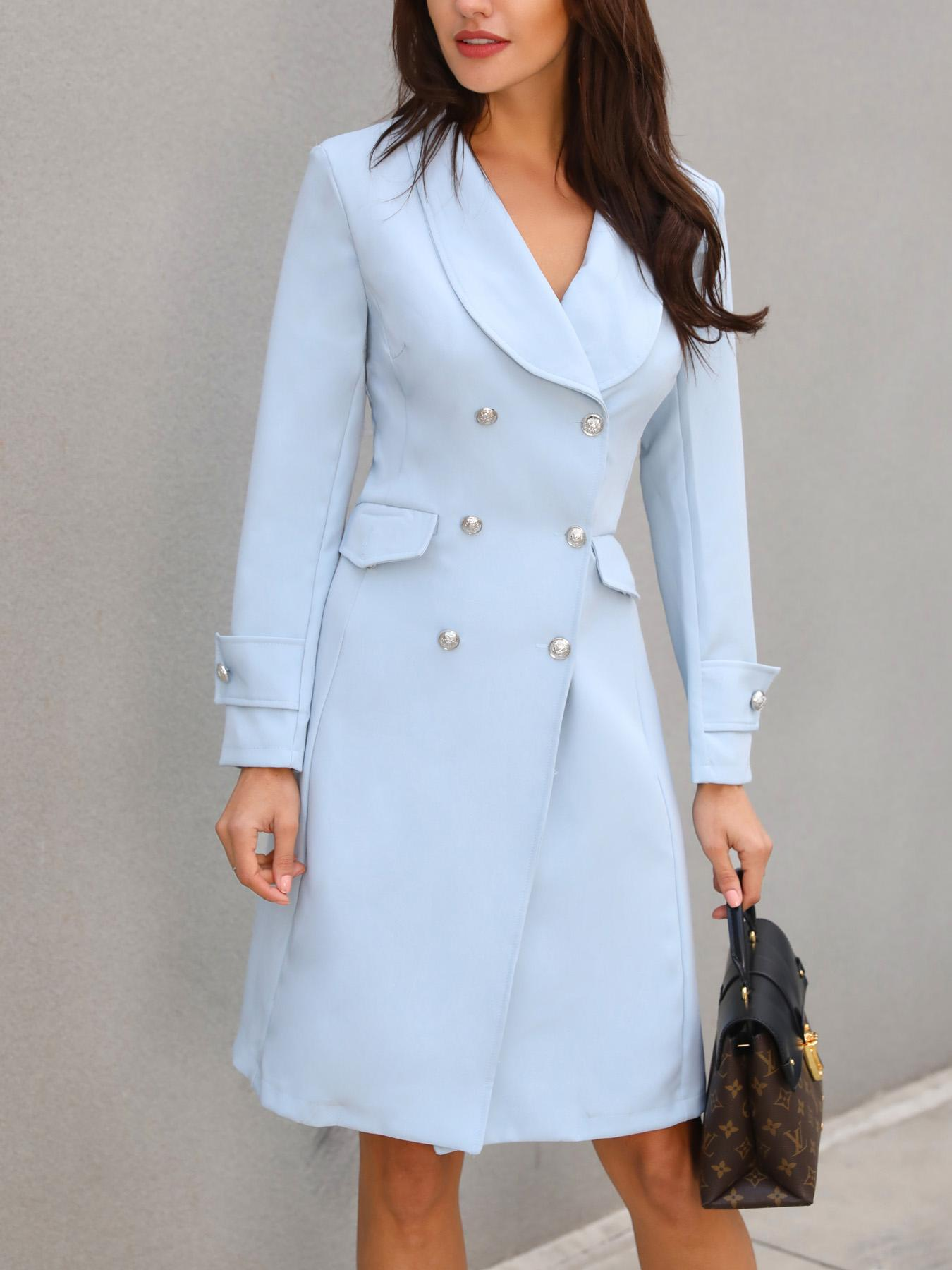 chicme / Solid Double-Breasted Long Sleeve Dress