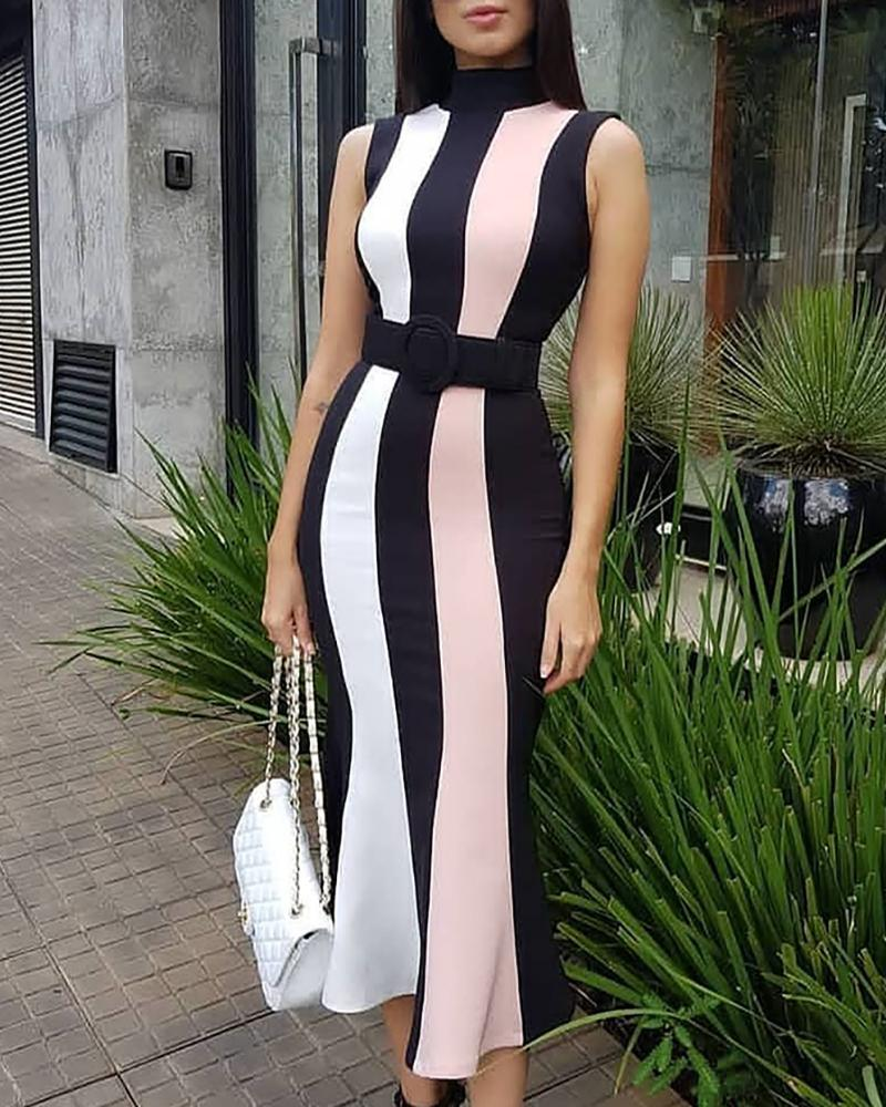 Sleeveless Colorblock Striped Insert Dress