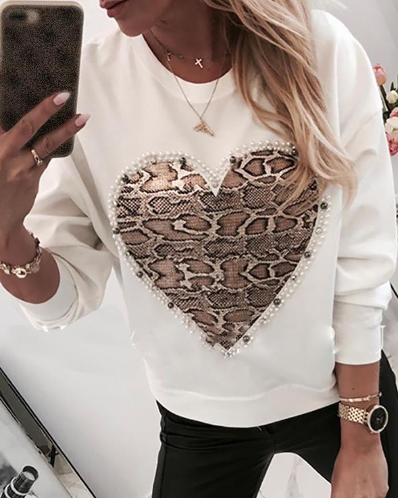 Heart Pattern Snakeskin Print Round Neck Casual Sweatshirt фото