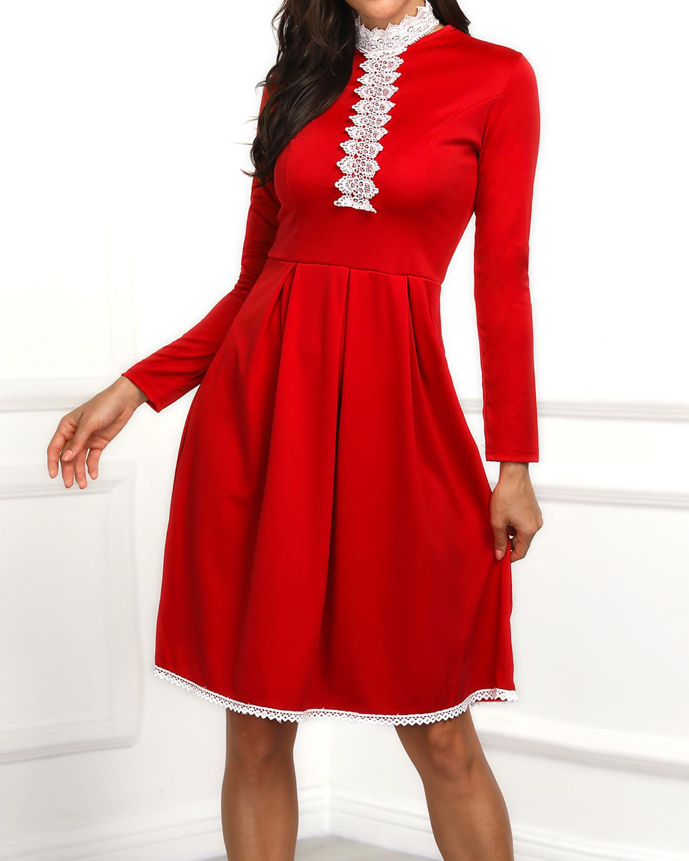 Lace Trim Binding Tunic Pleated Dress
