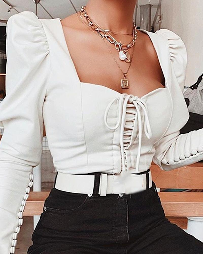 White Long Sleeve Bustier Top фото