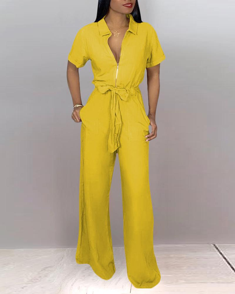 Turn-down Collar Short Sleeve Wide Leg Jumpsuit от ChicMe WW