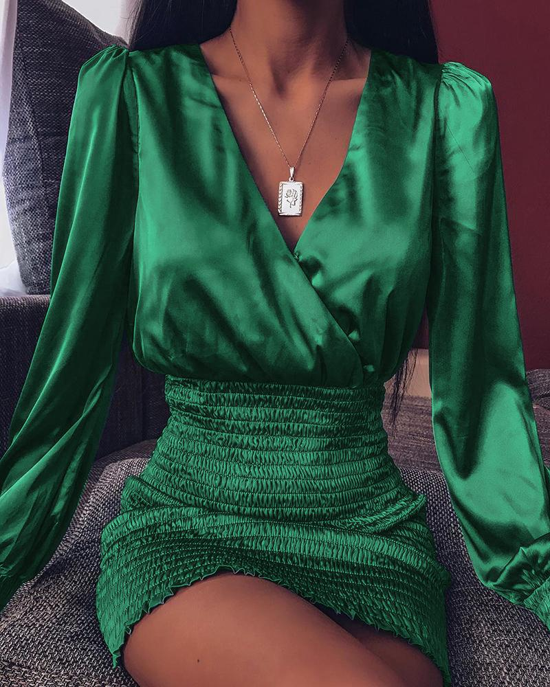 ivrose / Mini-vestido de cintura apertada com mangas bufantes