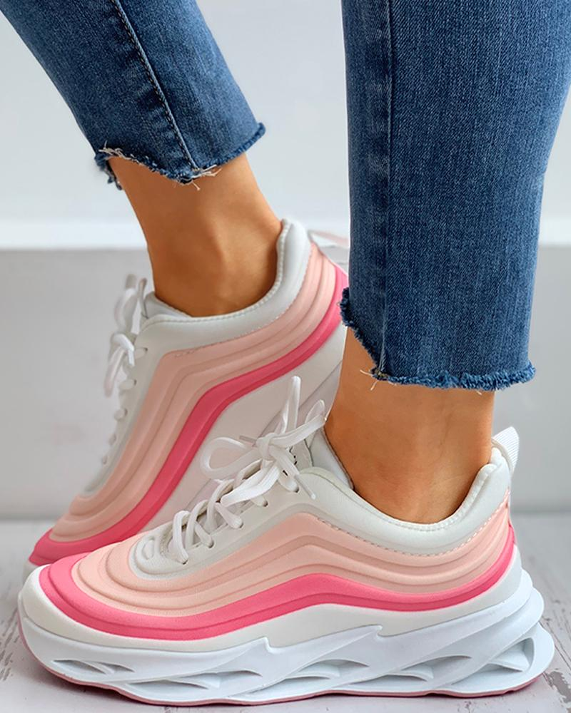 ivrose / Colorblock Lace-up Muffin Breathable Sneakers