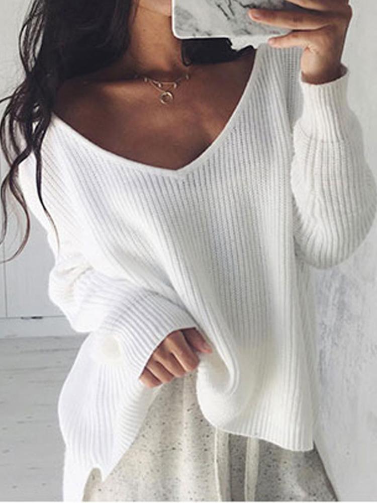 Asymmetrical Knitted V Neck Side Split Sweater