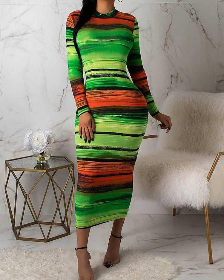 Gradient Color Tie Dye Bodycon Dress