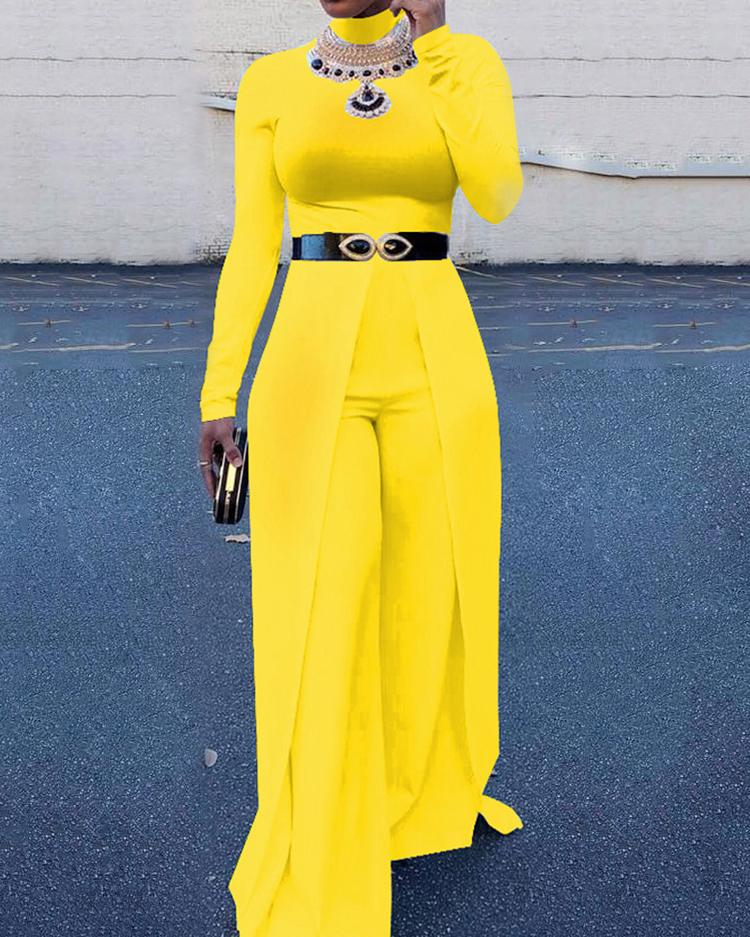 Women High Neck Wide Leg Jumpsuit, Yellow