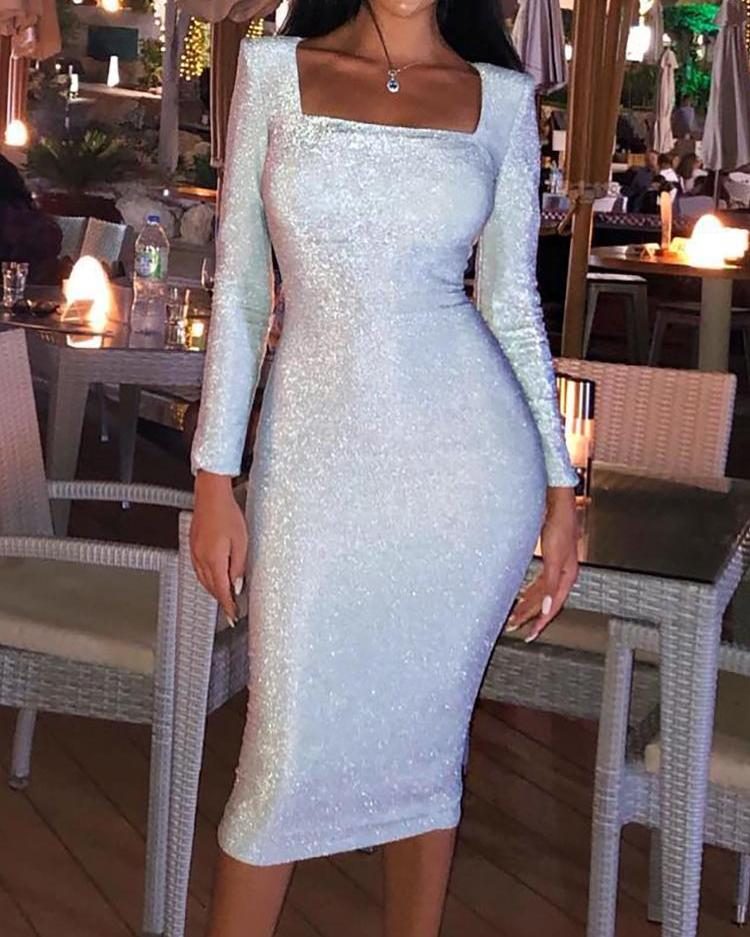 Glitter Long Sleeve Party Dress