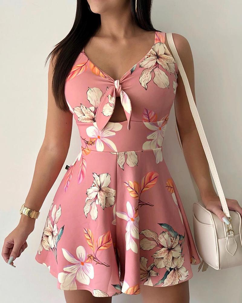 Floral Print Knotted Front Casual Romper