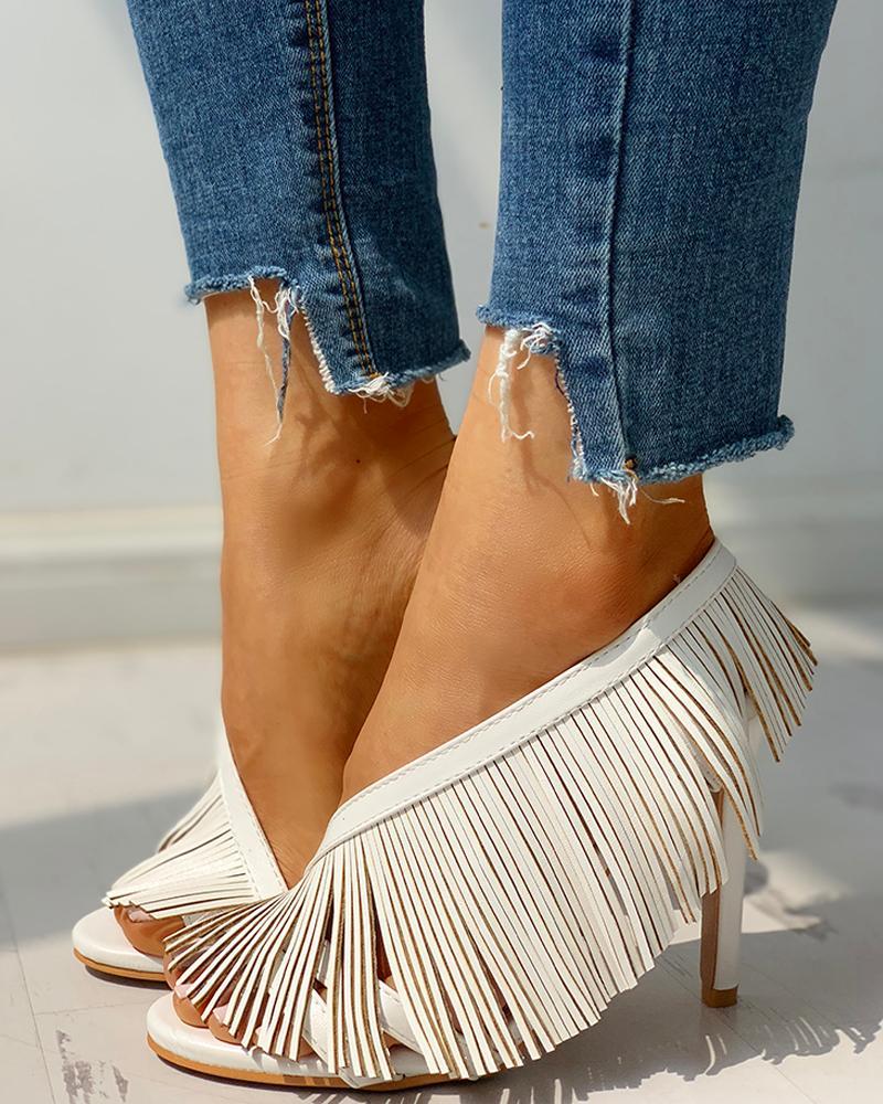 Solid Tassels Design Thin Heeled Sandals фото