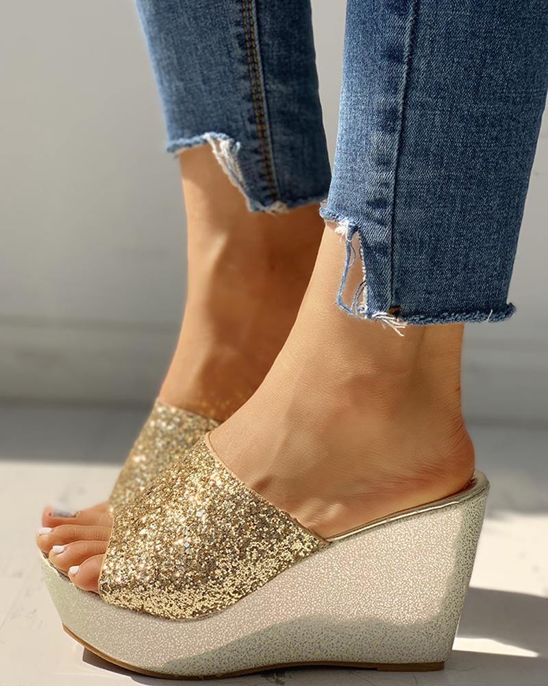 Open Toe Sequins Platform Sandals фото