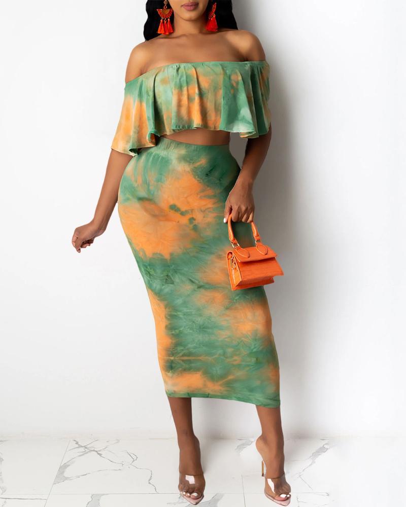 chicme / Conjunto de falda a media pierna con volantes y hombros descubiertos con estampado Tie Dye