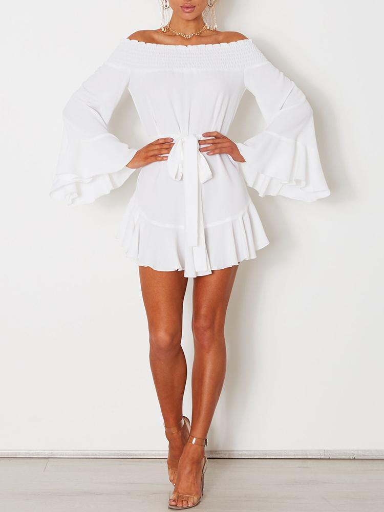 Sexy Flare Sleeve Drop Hem Pleated Chiffon Casual Dress фото