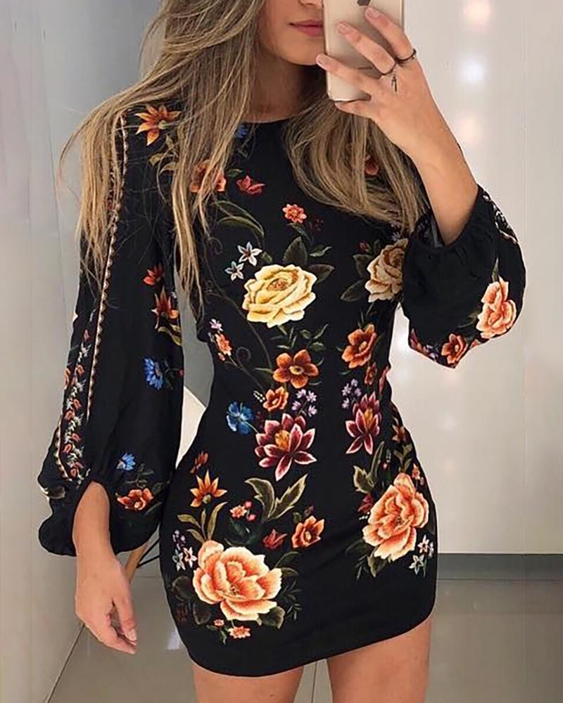 Cutout Back Bishop Sleeve Floral Bodycon Dress фото