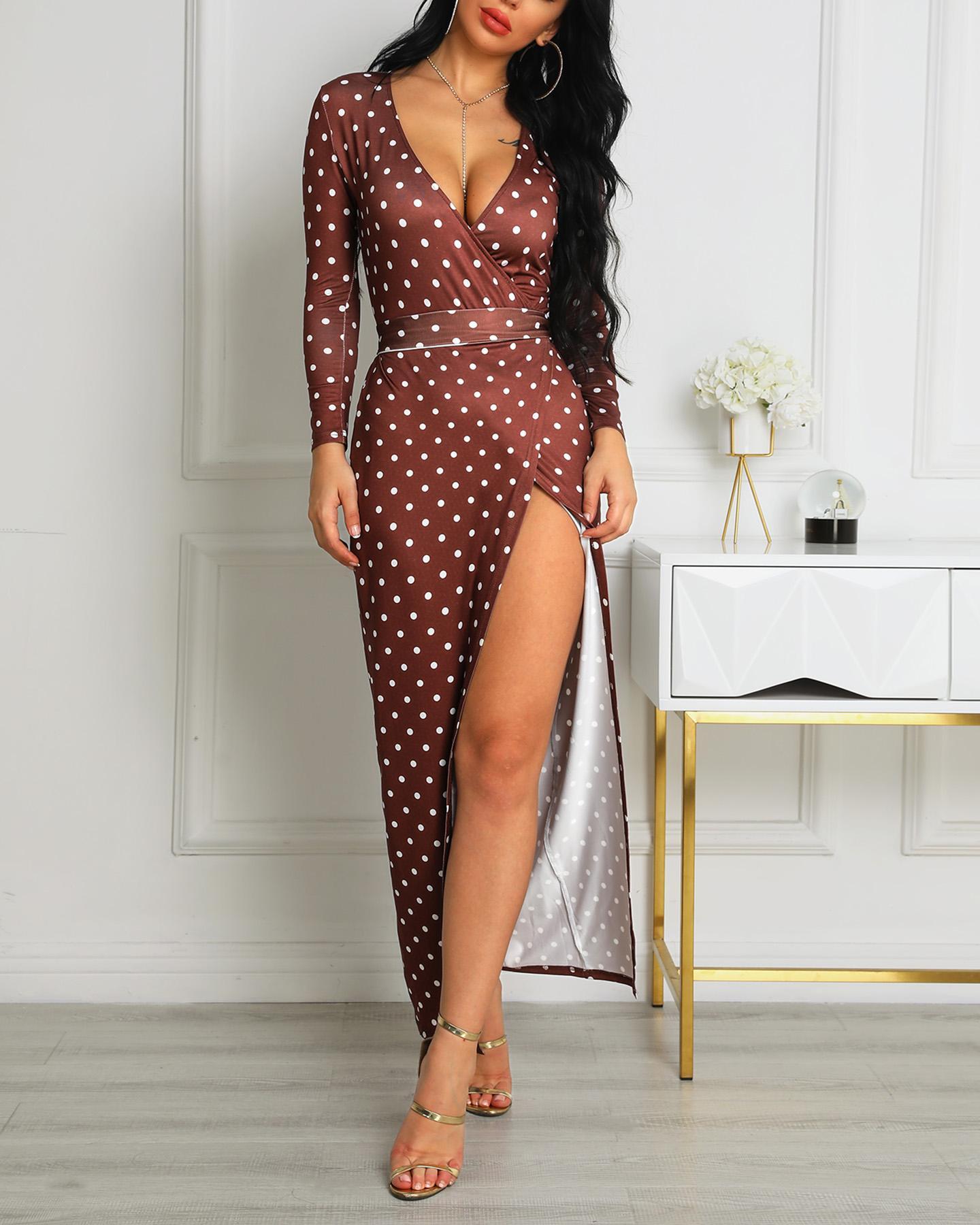 Dots Print Slit Wrapped Dress