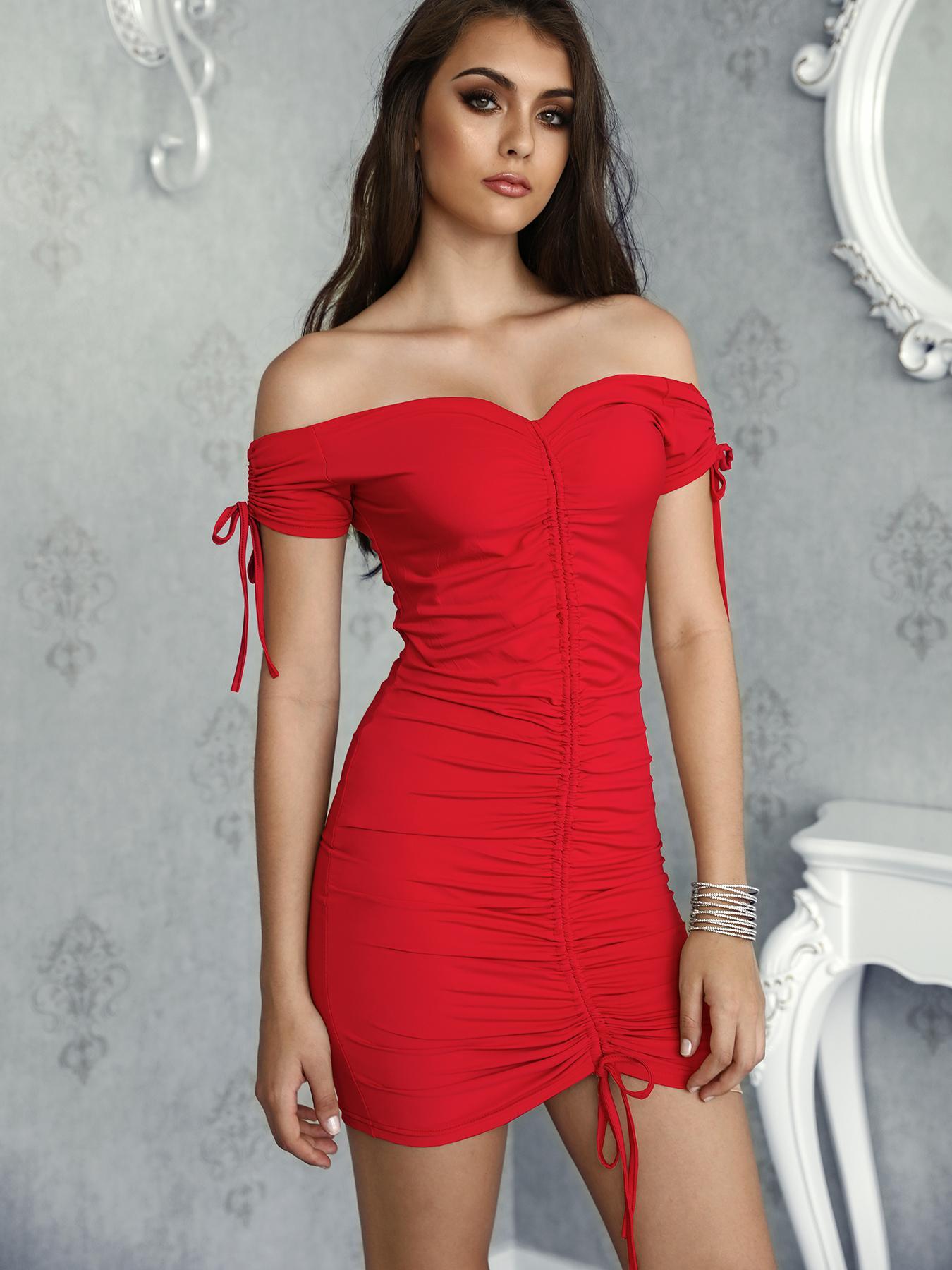 Off Shoulder Shirred Drawstring Solid Mini Dress фото