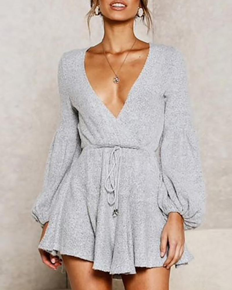 V-Neck Lantern Sleeve Casual Dress фото