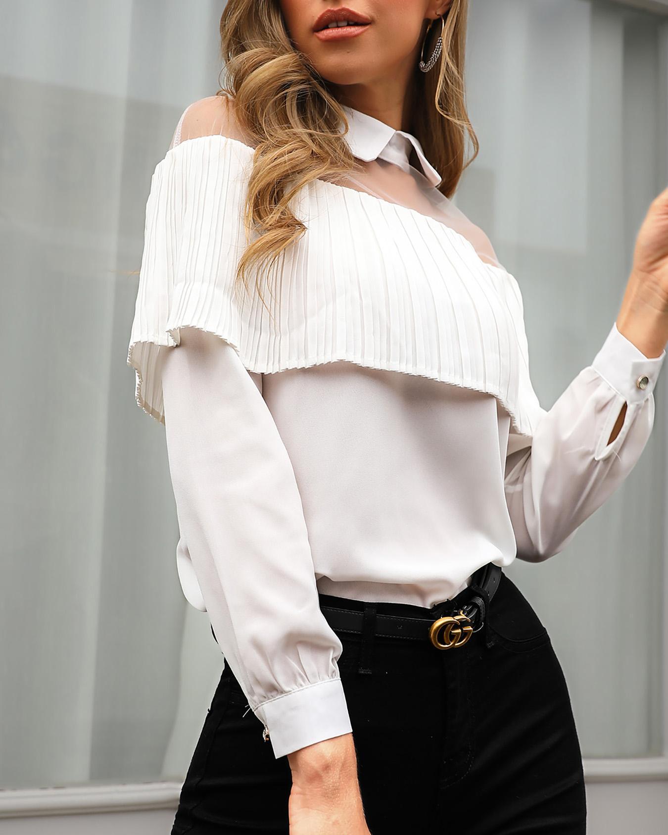 ivrose / Blusa de manga larga con aplicación de malla transparente