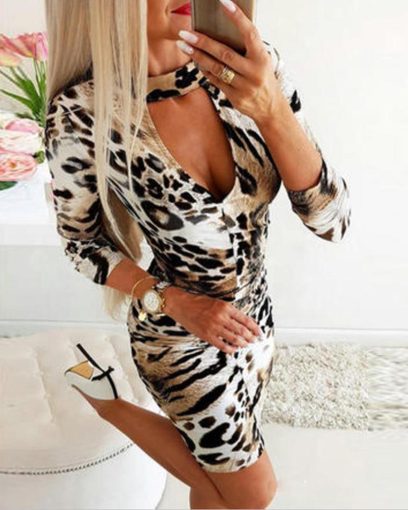 Leopard Print Cut Out Bodycon Dress фото