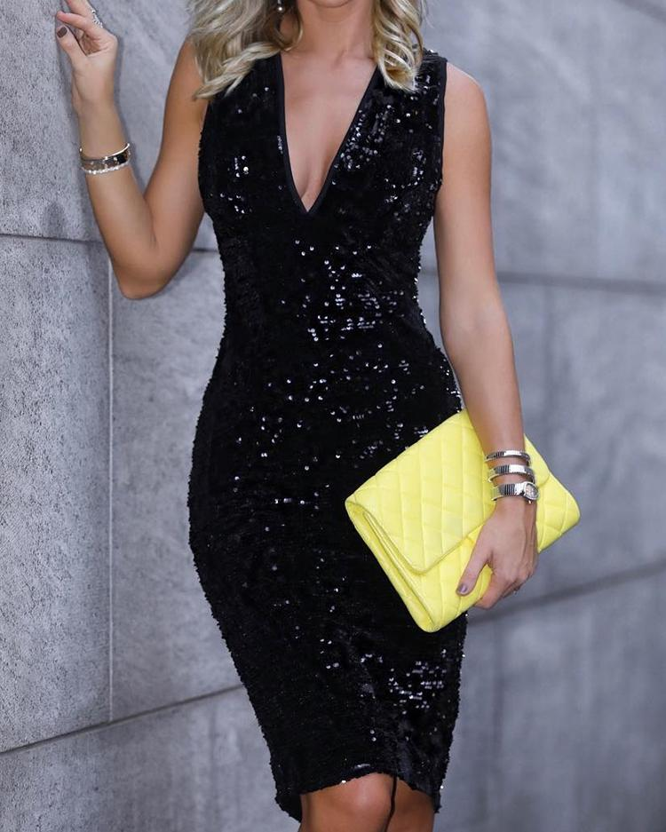 Sleeveless Sequin Party Dress, Black