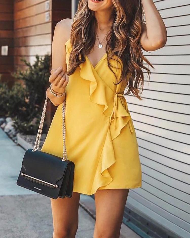 Ruffles Self-belted Slip Mini Wrap Dress фото