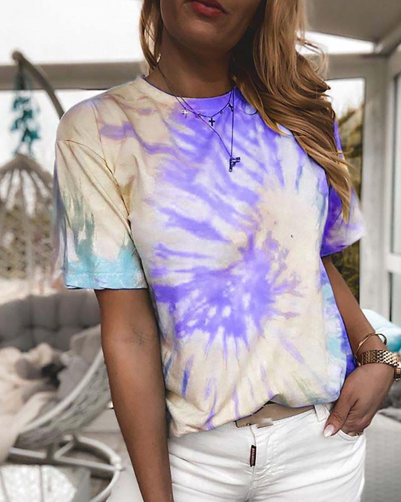 Tie Dye Print Short Sleeve Casual T-shirt фото