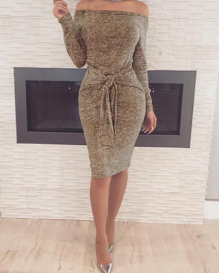 Off Shoulder Long Sleeve Knotted Bodycon Dress, Khaki
