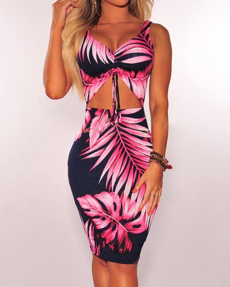 boutiquefeel / Vestido ajustado con pliegues y estampado de hojas