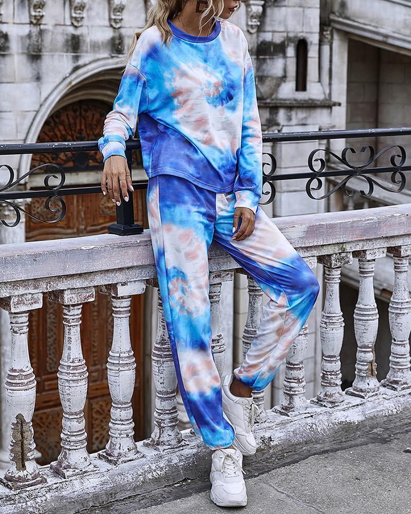 chicme / Conjunto de calças e top casual com estampa tie dye