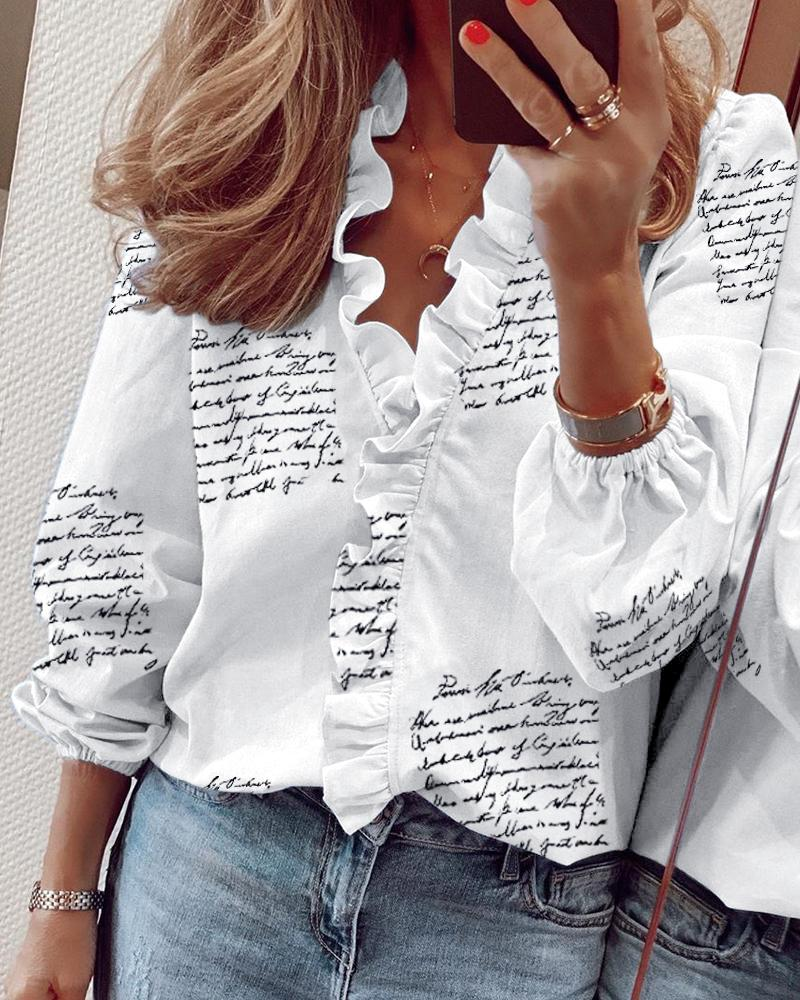 Long Sleeve Letter Print Ruffles Casual Blouse фото