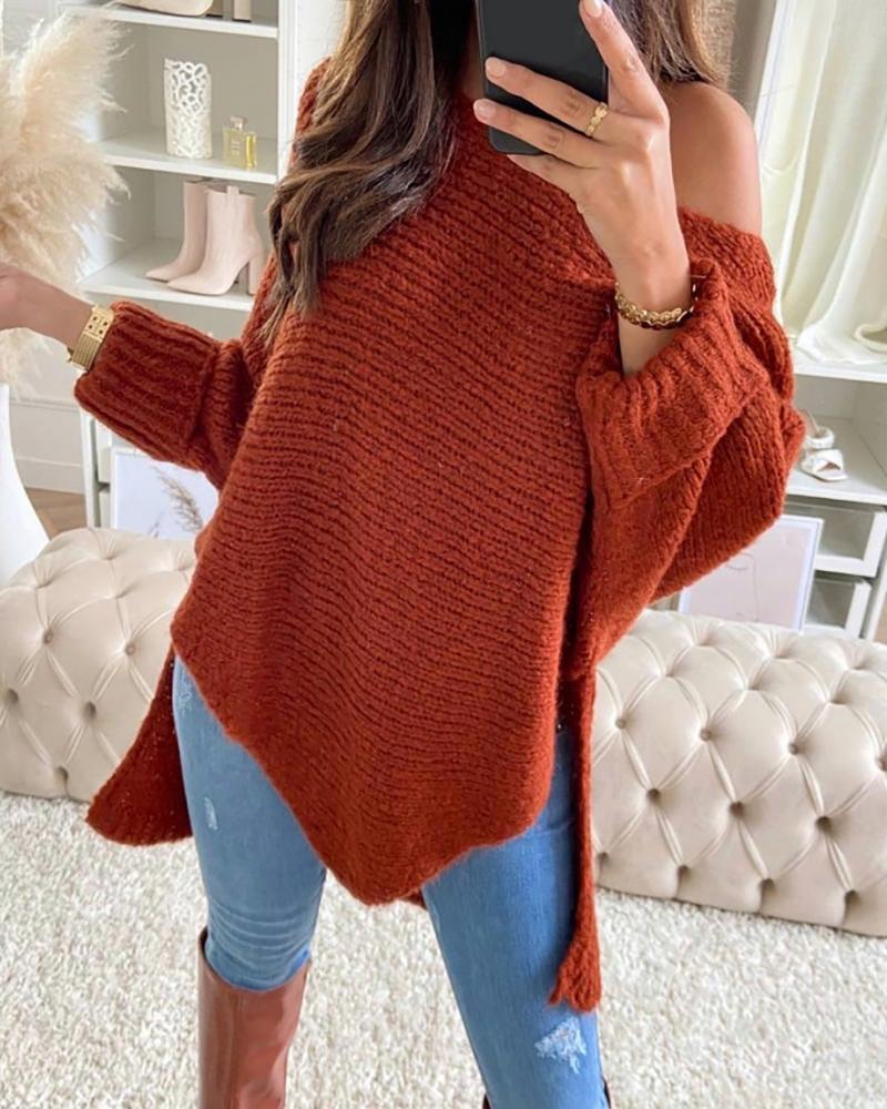 ivrose / Plain Slit Dip Hem Long Sleeve Sweater