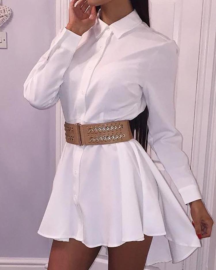 chicme / Vestido de camisa de manga larga con dobladillo sólido
