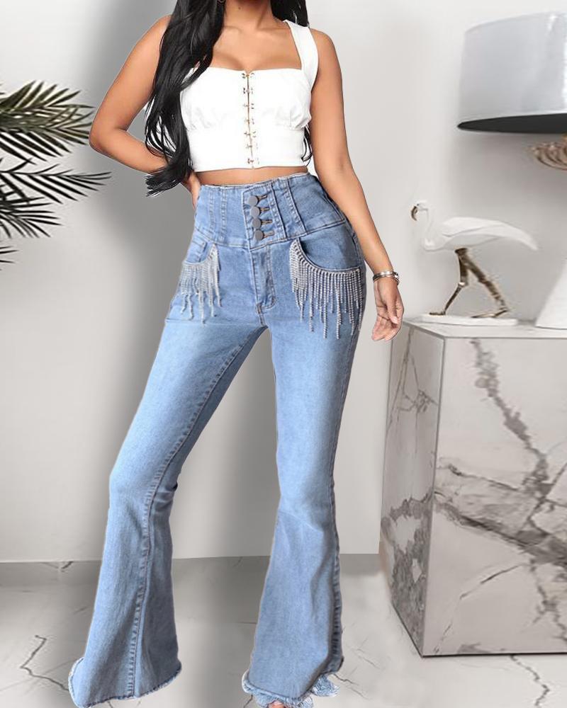 chicme / Calças de ganga com design de borla de cintura alta