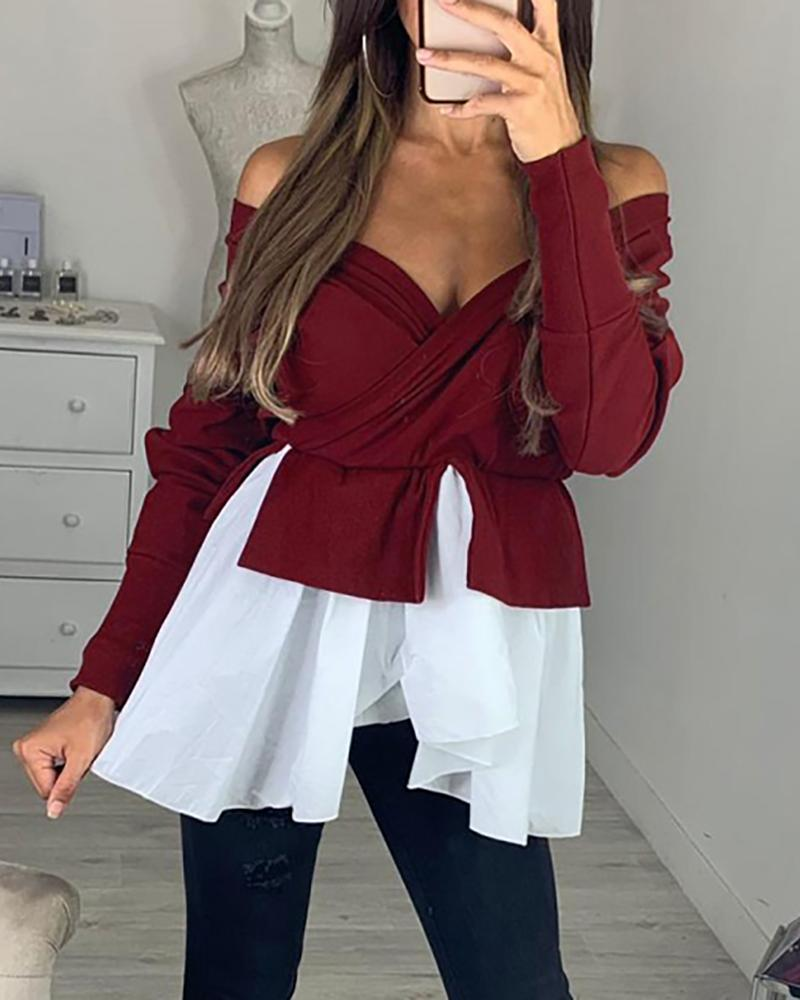 Off Shoulder Batwing Sleeve Colorblock Insert Ruffles Blouse, Wine red