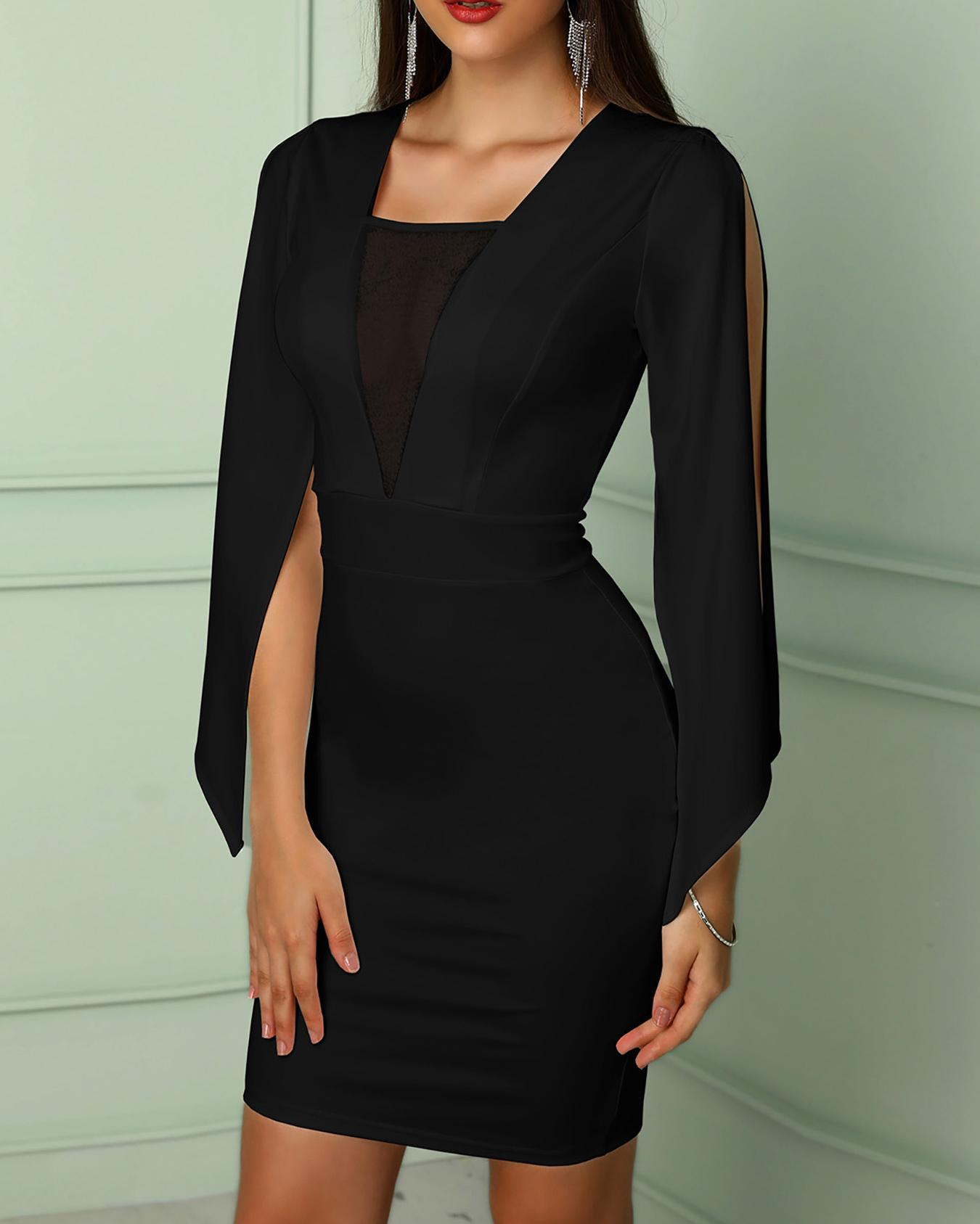 ivrose / Billowing Split Sleeves Mesh Insert Bodycon Dress